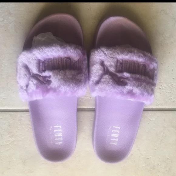 Fenty Fur Slides Lavender Orchid Purple Size 10.5 09f7f8ef6